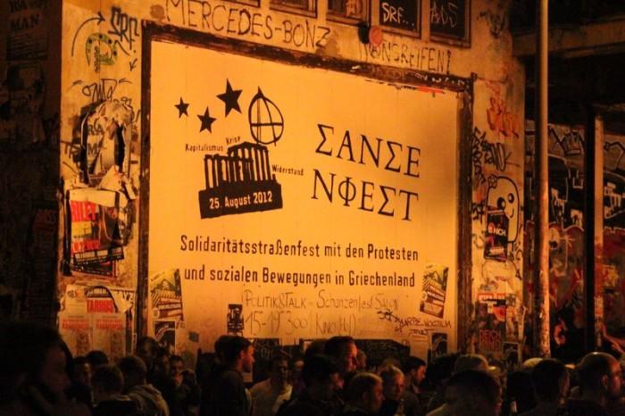 Werbeplakat für das Schanzenfest 2012 an der Roten Flora.
